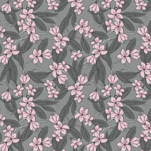 Sakura - Cherry Blossom Branches Pink and Grey