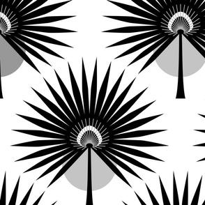Fan Palm Leaves Black - Large