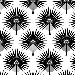 Fan Palm Leaves Black Medium