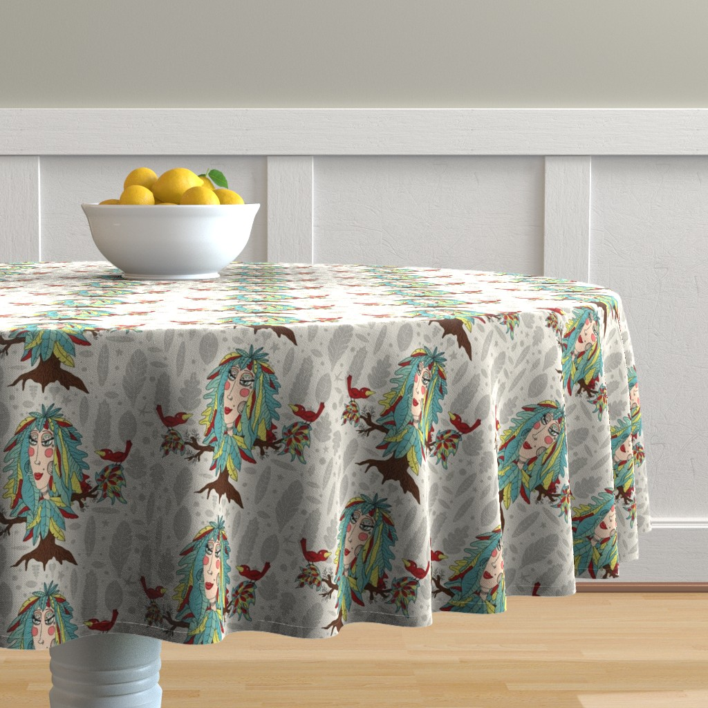 Malay Round Tablecloth featuring bohemian boho tree, leaves and feather fantasy woman dryad goddess, large scale, gray grey green yellow red brown taupe beige quirky by amy_g