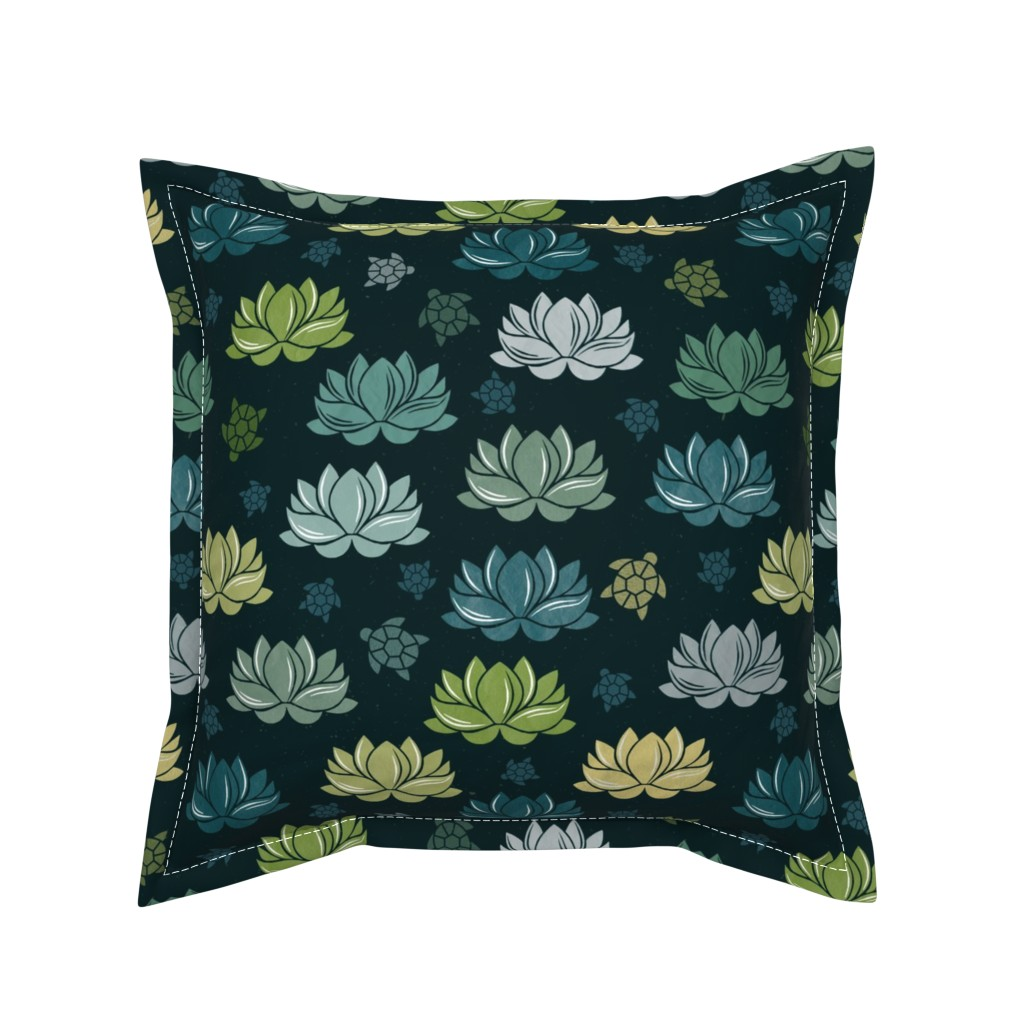 Serama Throw Pillow featuring Lily pond at midnight by colorofmagic