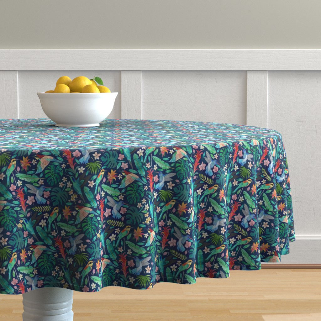 Malay Round Tablecloth featuring Birds In Bohemian Paradise by tangerine-tane