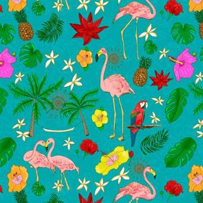 Boho Flamingos on Turquoise