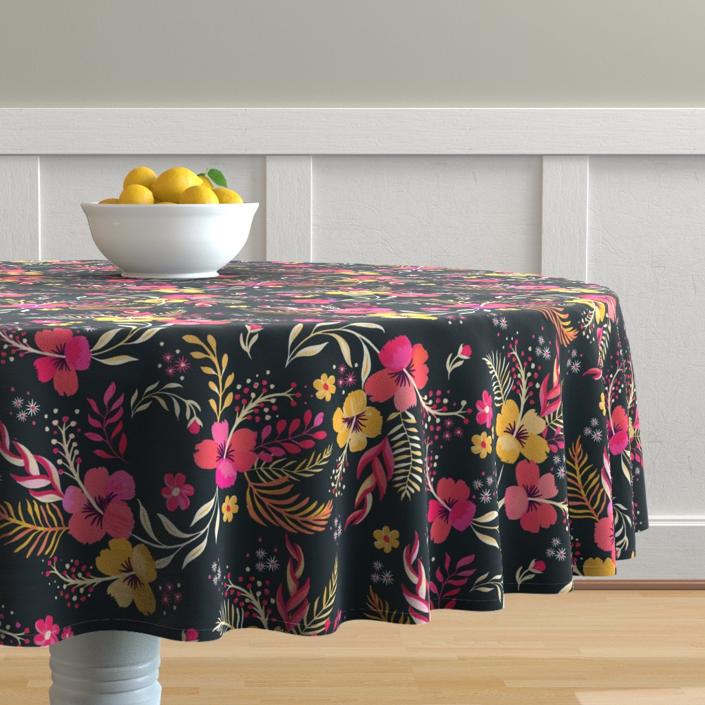 Malay Round Tablecloth featuring Hand Painted Bohemian Paradise by jill_o_connor