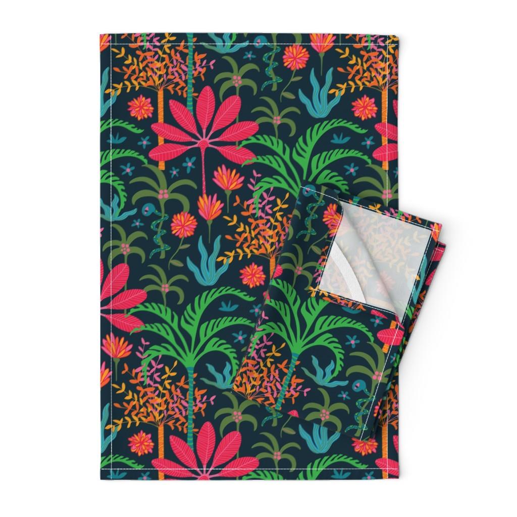 Orpington Tea Towels featuring Dream Bohemian Tropical Paradise Palm Trees Exotic Plants Snake by unblinkstudio-by-jackietahara