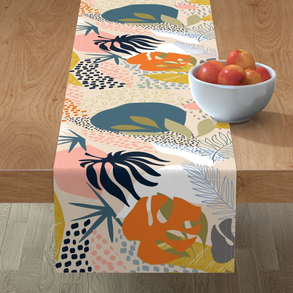 Minorca Table Runner featuring Tropical foliage - Natural Retro Boho  by dominique_vari