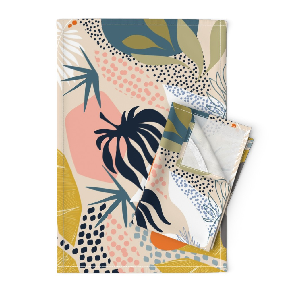 Orpington Tea Towels featuring Tropical foliage - Natural Retro Boho  by dominique_vari