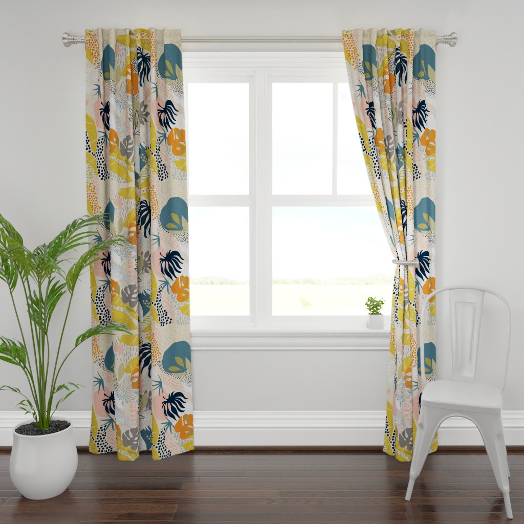 Plymouth Curtain Panel featuring Tropical foliage - Natural Retro Boho  by dominique_vari