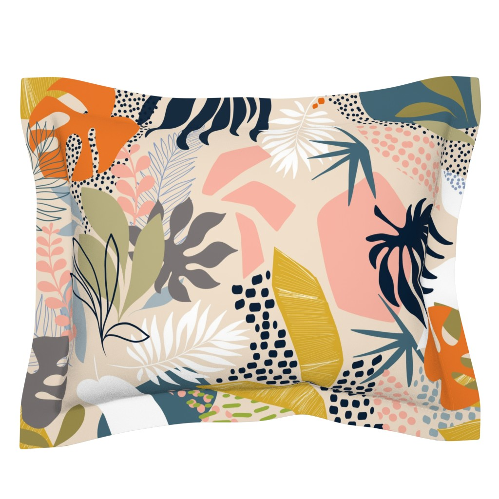 Sebright Pillow Sham featuring Tropical foliage - Natural Retro Boho  by dominique_vari