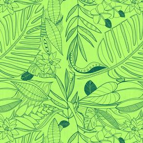 bohemian line art: neon green