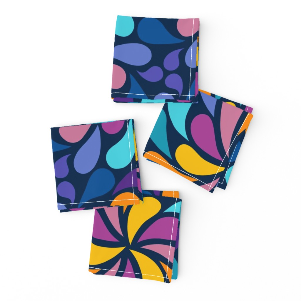 Frizzle Cocktail Napkins featuring In a Spin 70s  - navy, purple and orange by dustydiscoball