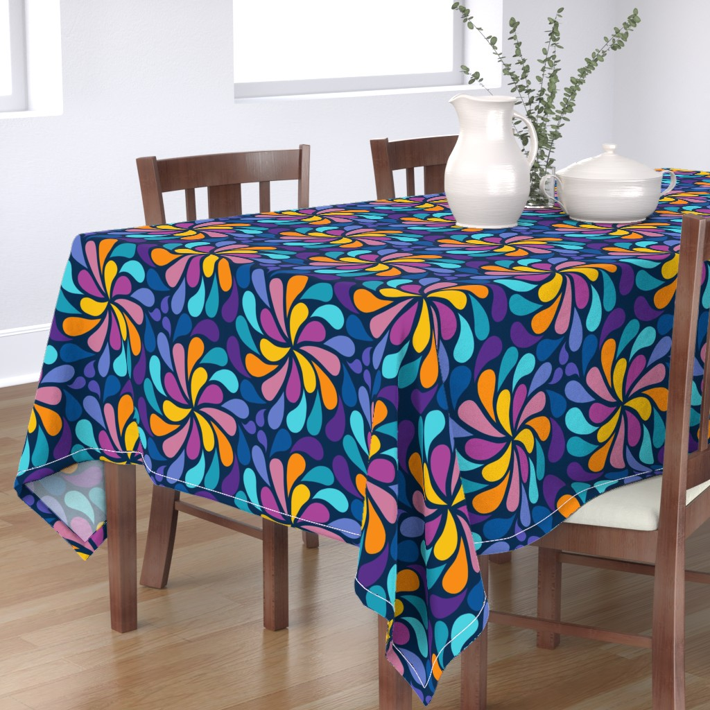 Bantam Rectangular Tablecloth featuring In a Spin 70s  - navy, purple and orange by dustydiscoball