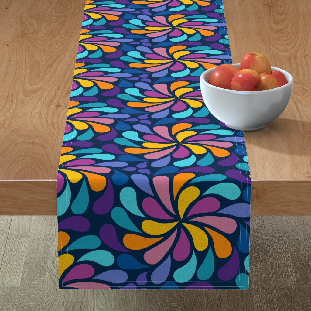 Minorca Table Runner featuring In a Spin 70s  - navy, purple and orange by dustydiscoball
