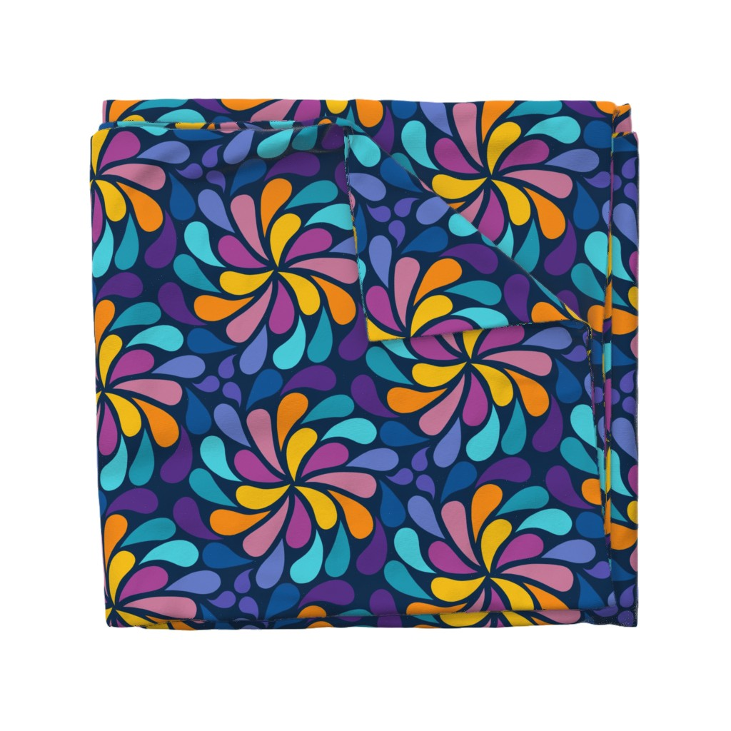 Wyandotte Duvet Cover featuring In a Spin 70s  - navy, purple and orange by dustydiscoball