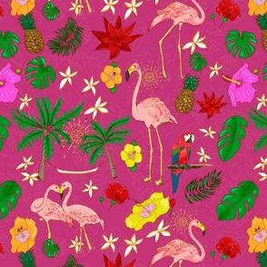 Boho Flamingos on Pink