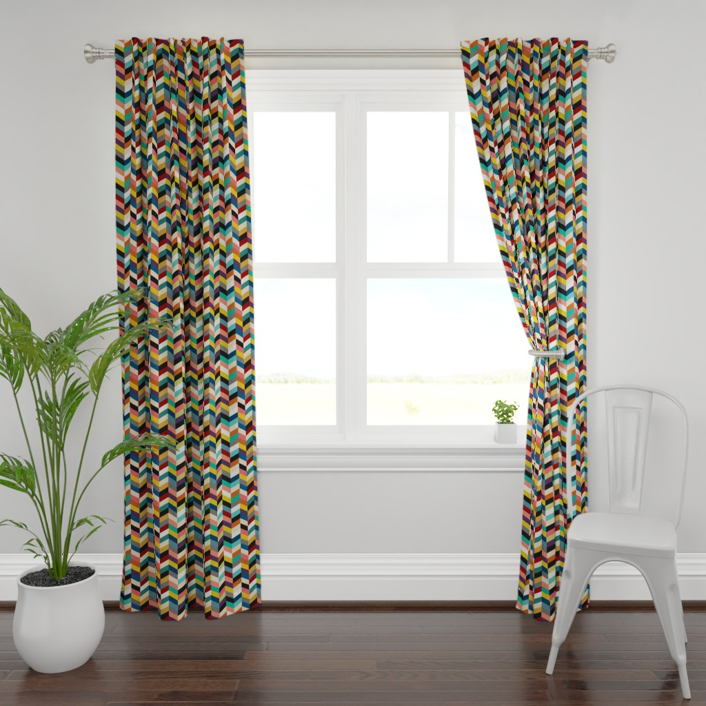 Plymouth Curtain Panel featuring Ellis Herringbone by everindie