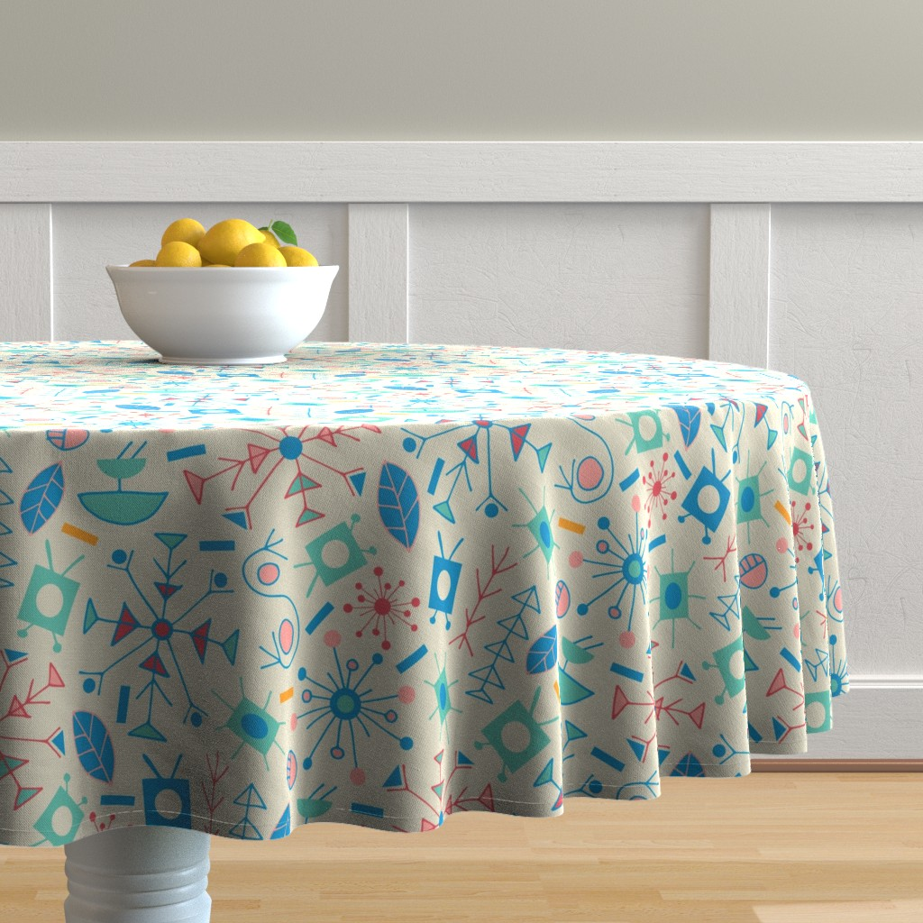 Malay Round Tablecloth featuring Jet Age Atomic Turquoise Blue Red Pink Yellow on Cream by unblinkstudio-by-jackietahara