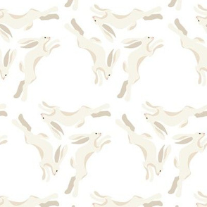 1950s Cream Colored Hares Running in Triangles on White