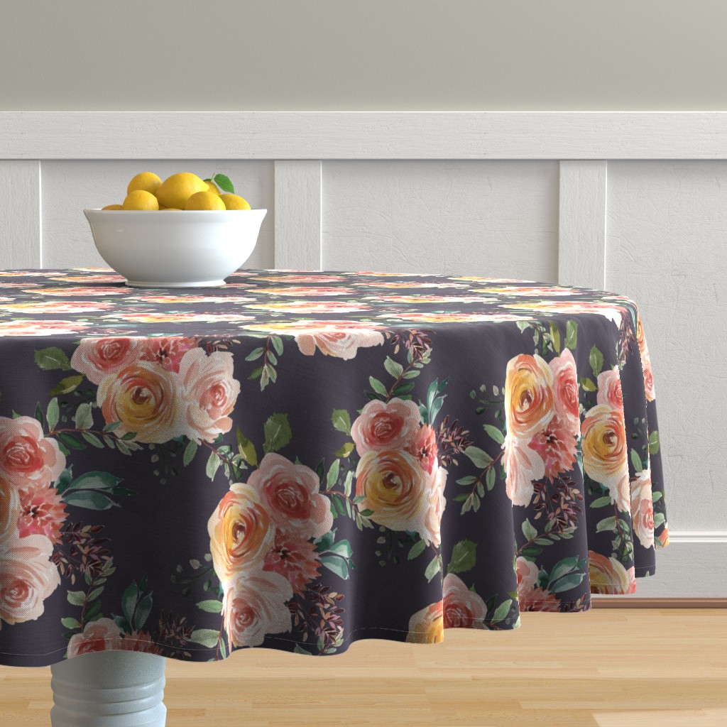 Malay Round Tablecloth featuring Beatrice Floral Dusty Lavender by glitterrelics