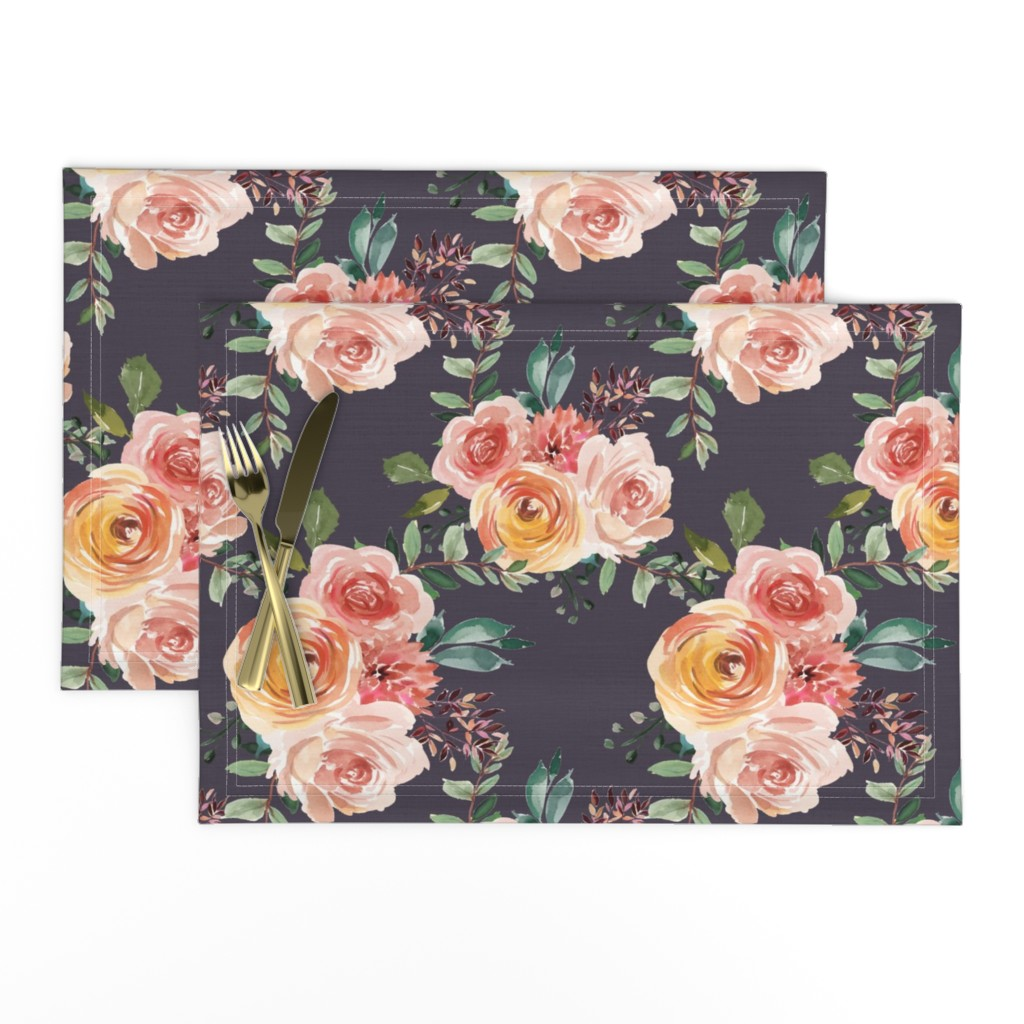 Lamona Cloth Placemats featuring Beatrice Floral Dusty Lavender by glitterrelics