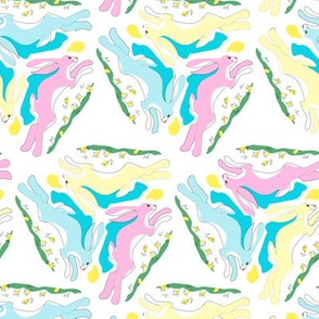 1950s Baby Pink Blue and Yellow Hares Running in Triangles
