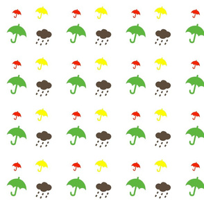 Retro umbrellas white