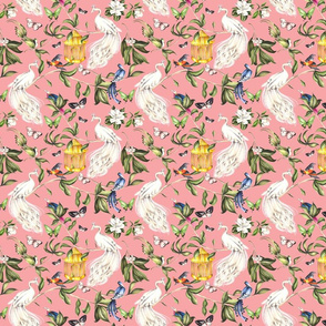 Chinoiserie - Salmon Pink, Small scale
