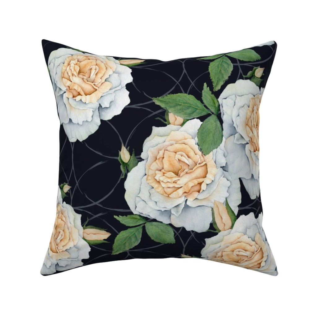 Catalan Throw Pillow featuring Moody Roses by peony_dreams_art