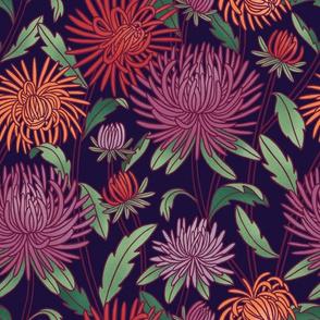 Moody aster flowers