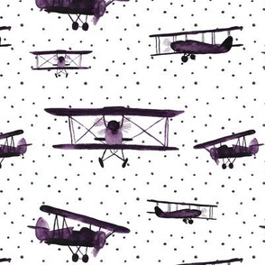 retro air planes with dots || watercolor