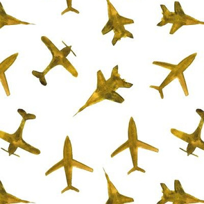 Watercolor airplanes in mustard || gender neutral pattern