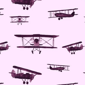retro air planes on pink || watercolor vintage for baby girls
