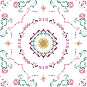Sweet Pink Roses and Stars on White