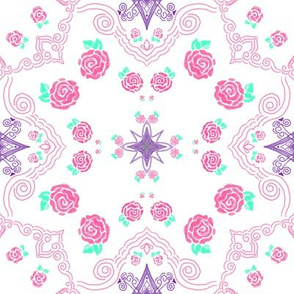 Pink Spring  Roses on White