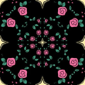 Pink Roses and Stars on Black