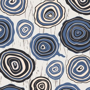 Woodlands Tree Rings Forest Graphic Blue Black