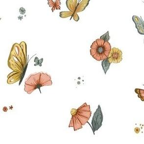 Wildflower Butterflies in White