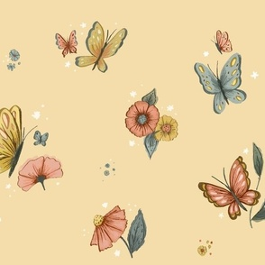 Wildflower Butterfly in Cream