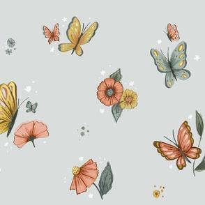 Wildflower Butterfly in Gray