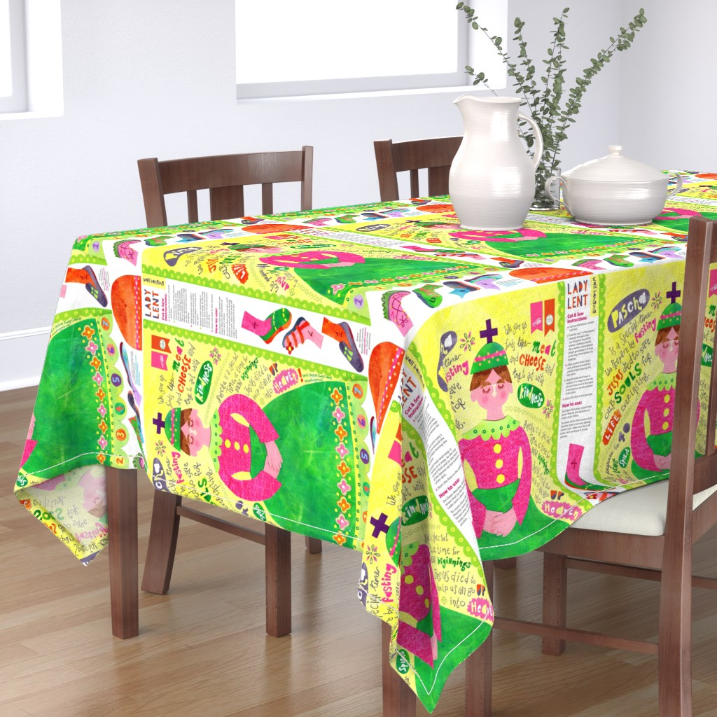 Bantam Rectangular Tablecloth featuring Lady Lent Banner - change fabric to FLEECE by st_tabithas_workshop