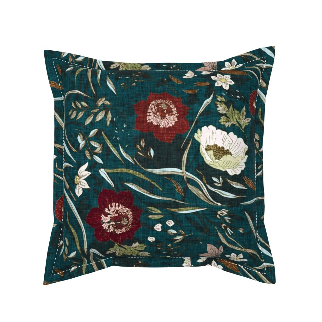Serama Throw Pillow featuring Noir Floral (teal) LRG by nouveau_bohemian