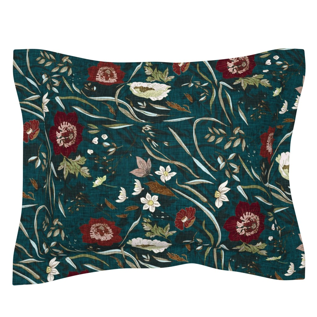 Sebright Pillow Sham featuring Noir Floral (teal) LRG by nouveau_bohemian