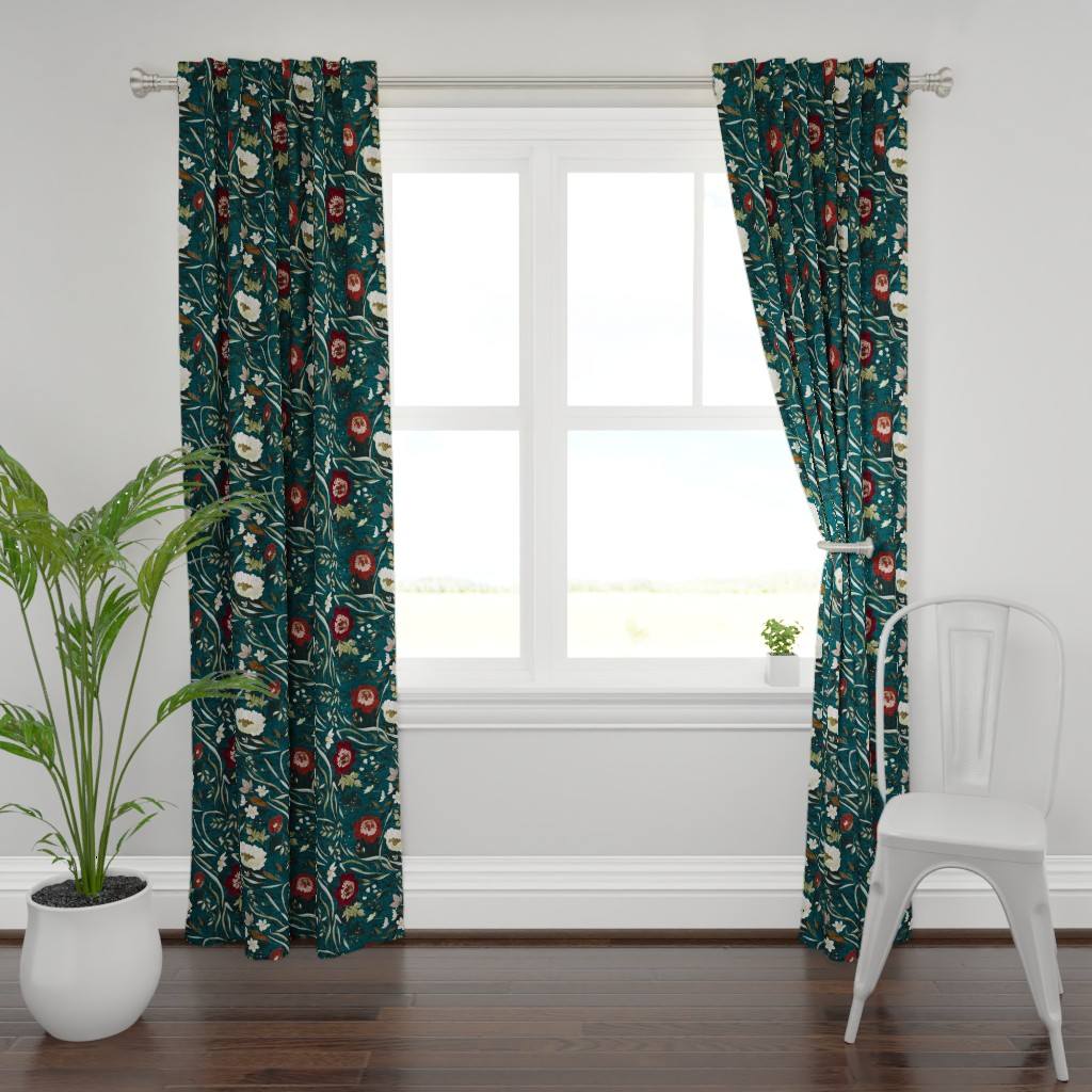 Plymouth Curtain Panel featuring Noir Floral (teal) LRG by nouveau_bohemian