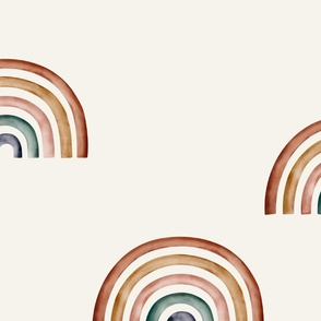 jumbo // rainbows Ecru background big rainbows earth tone earthy unisex neutral