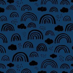 Scandinavian abstract rainbow clouds happy rain sky gender neutral dark navy blue