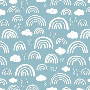 Scandinavian abstract rainbow clouds happy rain sky gender neutral soft baby blue boys