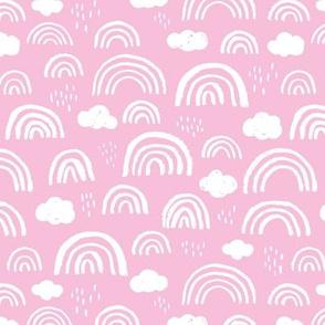 Scandinavian abstract rainbow clouds happy rain sky summer pink girls