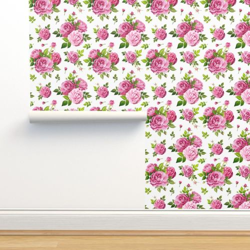 Wallpaper Seamless Pattern With Rose Flowers