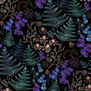 moody floral with fern leaves 2
