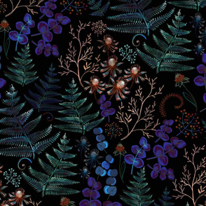 Moody florals with fern leaves - large scale